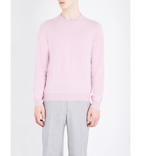 Canali Crewneck Cotton And Silk Blend Jumper Rose