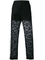 Nude Lace Panel Trousers Women Cotton Polyester 42 Black