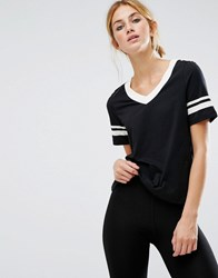 Noisy May Kicks Back White Stripe Tee Black