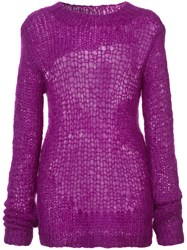 Helmut Lang Distressed Knit Sweater Pink And Purple