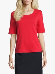 Betty Barclay Ribbed Short Sleeve Top Hibiscus Red
