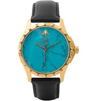 Gucci Gold Pvd Plated And Leather Watch Blue