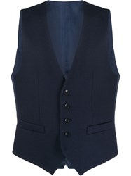 Paoloni Button Up Waistcoat Blue