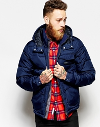 Lee Quilted Hooded Jacket Loco Slim Fit Navy