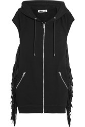 Mcq By Alexander Mcqueen Hooded Faux Suede Fringed Cotton Jersey Gilet Black