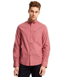 Kenneth Cole New York Tonal Gingham Shirt Coral Reef Combo
