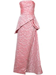 Rubin Singer Rose Embroidered Gown Pink And Purple
