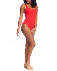 Lablanca Tied And True Lace Up One Piece Swimsuit Black