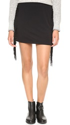 Tbags Los Angeles Fringe Mini Skirt Raven Black