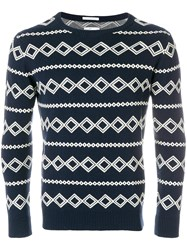 Gant Rugger Diamond Intarsia Jumper Blue