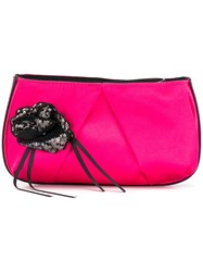 Pinko Sequin Floral Clutch Pink And Purple