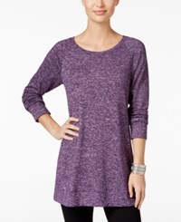 Styleandco. Style Co. Melange Knit Tunic Only At Macy's Dark Grape