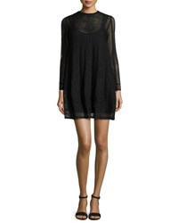 M Missoni Long Sleeve Jewel Neck Mini Dress Black