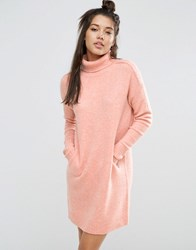 Asos Lounge Jumper Dress In Cocoon Shape With High Neck Blush Pink
