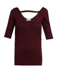 Prada Round Neck Cashmere Blend Sweater Dark Red