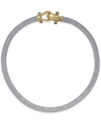 Macy's Rounded Mesh Collar Necklace In Sterling Silver And 14K Gold Over Sterling Silver