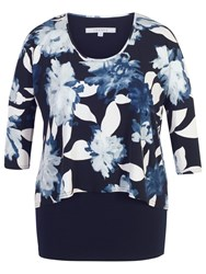 Chesca Floral Print Layered Jersey Tunic Top Navy