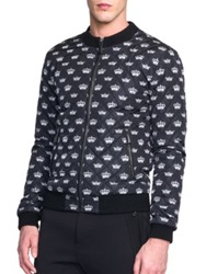Dolce And Gabbana Crown Print Quilted Nylon Jacket Black White