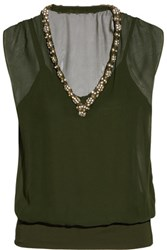Bailey 44 Hear That Beat Embellished Silk And Stretch Jersey Top Army Green