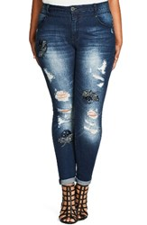 City Chic Plus Size Women's Embellished Destroyed Skinny Jeans Mid Denim