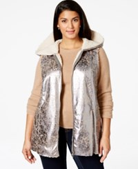 Harper And Liv Harper And Liv Plus Size Faux Fur Hooded Vest Distressed Silver