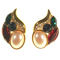 Alice Joseph Vintage 1980S Monet 14Ct Gold Plated Diamante And Pearl Leaf Stud Earrings Multi