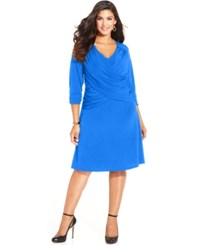 Ny Collection Plus Size Three Quarter Sleeve Dress Brightblue