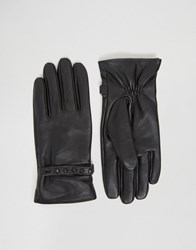 Asos Leather Gloves With Studding In Black Black