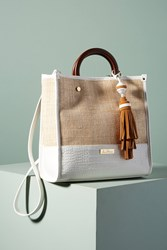 Anthropologie Marian Woven Tote Bag White