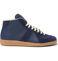 Maison Martin Margiela Replica Suede And Leather High Top Sneakers Blue