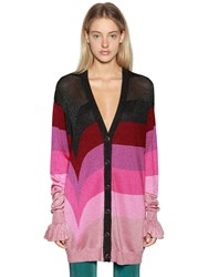 Marco De Vincenzo Oversize Striped Lurex Knit Cardigan Pink Red