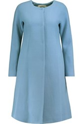 Milly Elodie Flared Wool Blend Coat Light Blue