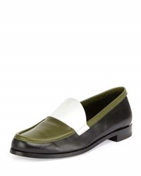 Pierre Hardy Colorblock Leather Loafer Black White Green Black White