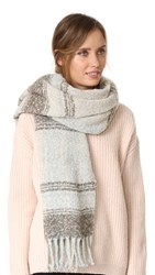 Free People Loveland Plaid Fringe Scarf Ivory