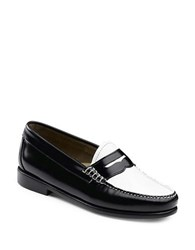 G.H. Bass Whitney Contrast Vamp Leather Penny Loafers Black White