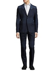 Valentino Two Tone Cotton Suit Blue