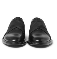 Givenchy Elastic Trimmed Polished Leather Derby Shoes Black