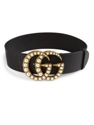 Gucci Pearly Gg Buckle Wide Leather Belt Black