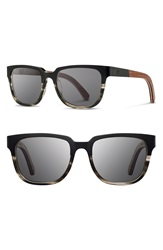 Shwood 'Prescott' 52Mm Titanium And Wood Sunglasses Black Titanium Walnut Grey