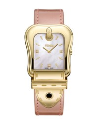 Fendi 43Mm B. Diamond Buckle Watch With Leather Strap Gold Pink