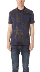 Paul Smith Ps By Floral Print Regular Fit Polo Navy