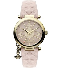 Vivienne Westwood Vv006pkpk Gold Toned Leather Watch Pink
