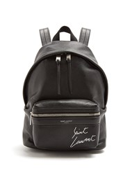 Saint Laurent Toy City Logo Embroidered Mini Leather Backpack Black