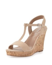 Charles By Charles David Libra Suede Wedge Sandal Flesh
