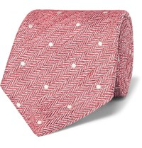 Etro 8Cm Polka Dot Herringbone Linen And Silk Blend Tie Red