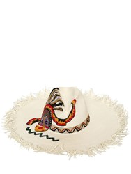 Etro Maasai Fringed Floppy Hat White