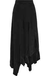 Isabel Marant Odelia Asymmetric Silk Maxi Skirt Black