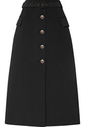 Givenchy Belted Wool Blend Twill Midi Skirt Black
