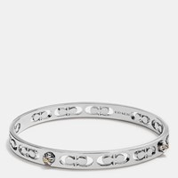 Coach Daisy Rivet Pierced Kissing C Bangle Silver