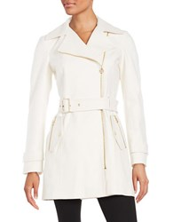 Michael Michael Kors Asymmetric Wool Blend Trench Ivory